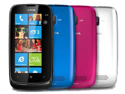 Nokia Lumia 610 in four colours
