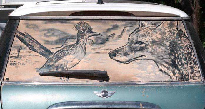 Obrazy na brudnych samochodach 26