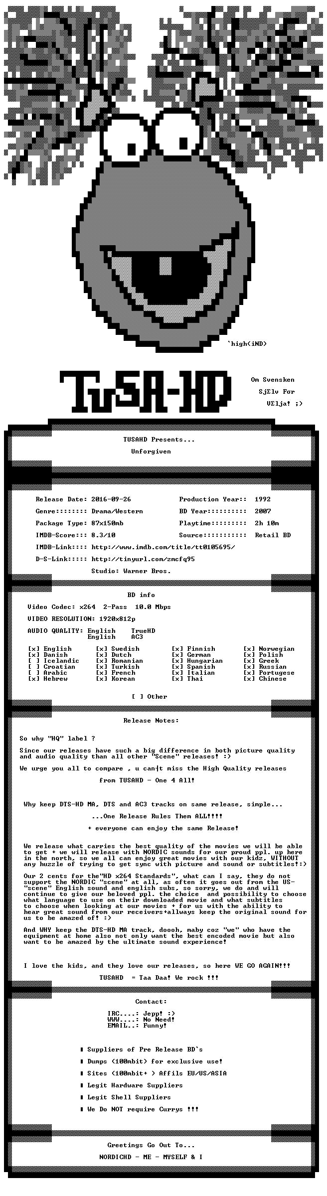 Unforgiven 1992 TrueHD AC3 MULTISUBS 1080p BluRay x264 HQ-TUSAHD