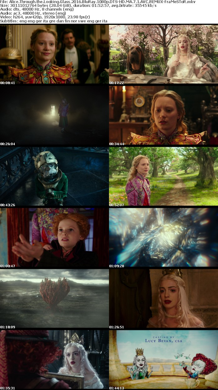 Alice Through the Looking Glass 2016 BluRay 1080p DTS-HD MA 7 1 AVC REMUX-FraMeSToR
