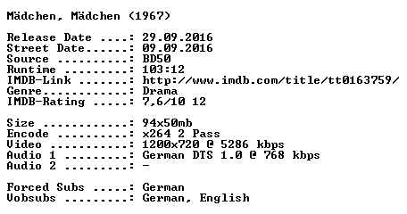 Maedchen Maedchen 1967 German 720p BluRay x264-SPiCY