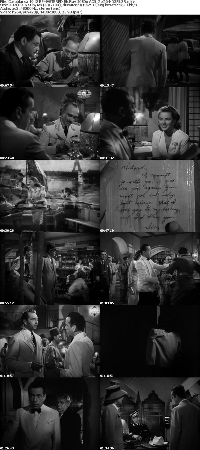 Casablanca 1942 REMASTERED BluRay 1080p AC3 2 x264-D3FiL3R