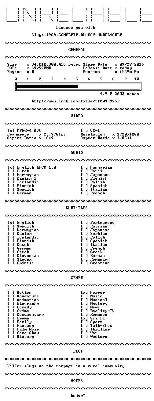 Slugs 1988 COMPLETE BLURAY-UNRELiABLE