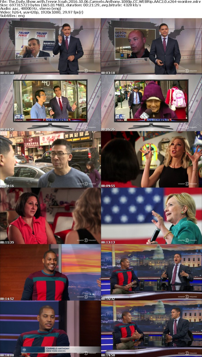 The Daily Show with Trevor Noah 2016 10 06 Carmelo Anthony 1080p CC WEBRip AAC2 0 x264 monkee