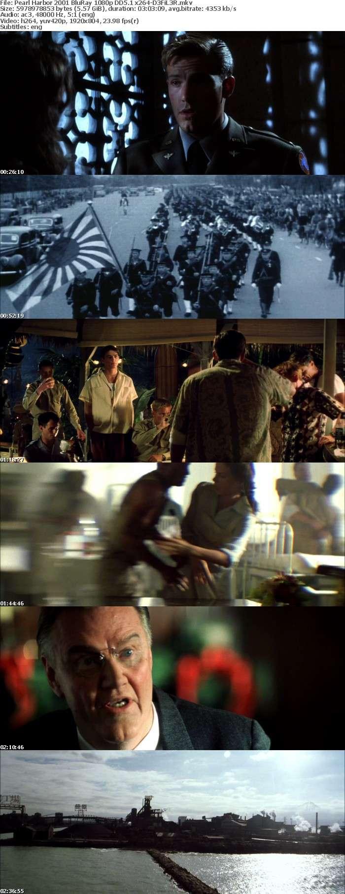 Pearl Harbor 2001 BluRay 1080p DD5 1 x264-D3FiL3R