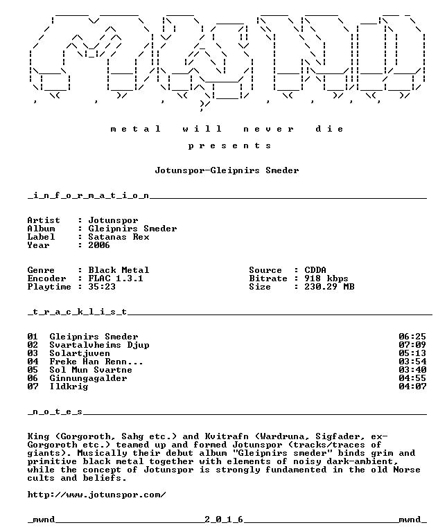 Jotunspor-Gleipnirs Smeder-CD-FLAC-2006-mwnd