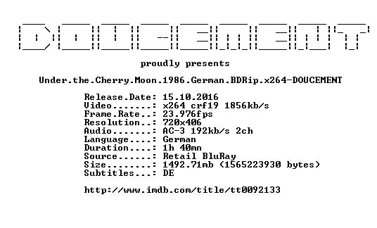 Under the Cherry Moon 1986 German BDRip x264-DOUCEMENT