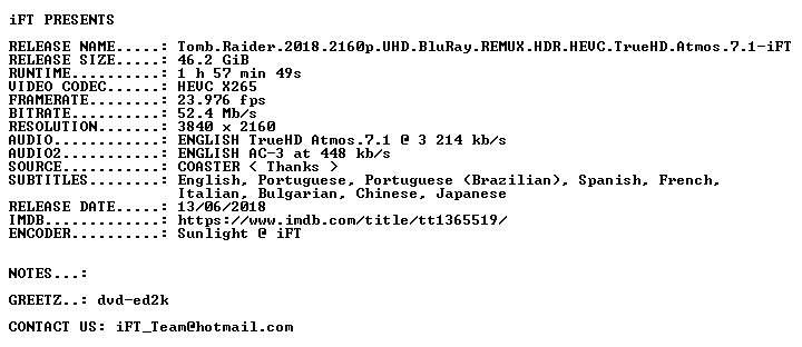 Tomb Raider 2018 2160p UHD BluRay REMUX HDR HEVC TrueHD Atmos 7 1-iFT