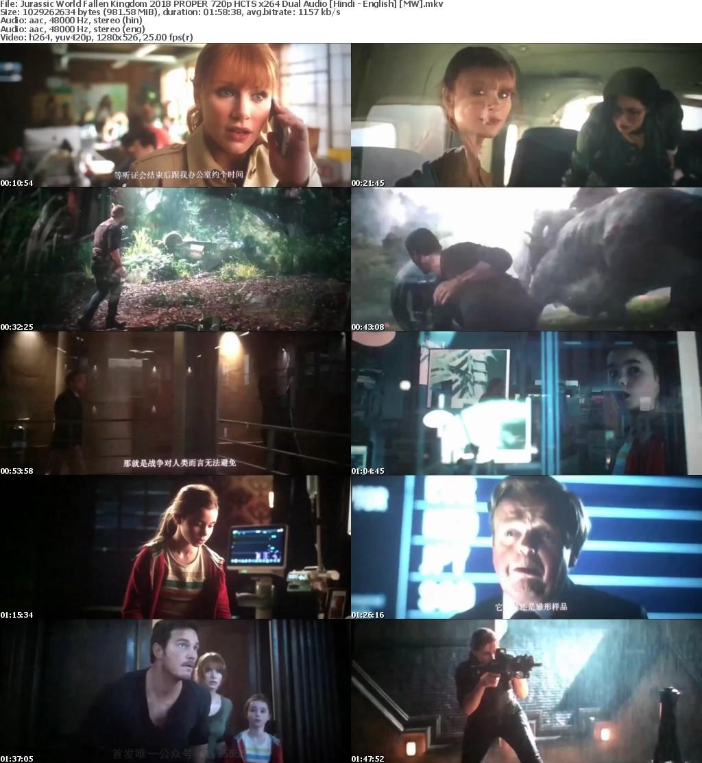 Jurassic World Fallen Kingdom (2018) PROPER 720p HCTS x264 Dual Audio [Hindi - English] [MW]