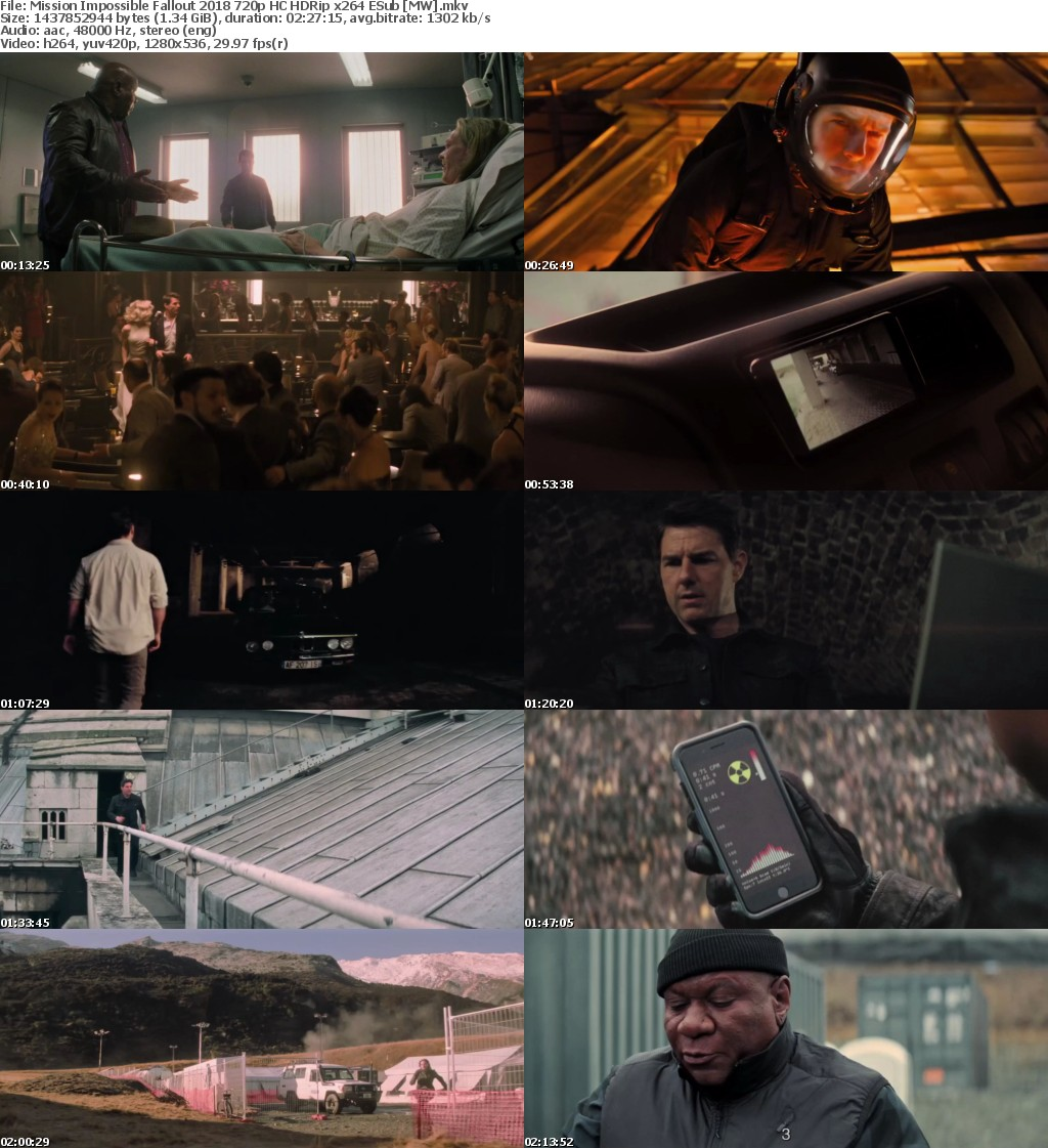 Mission Impossible Fallout (2018) 720p HC HDRip x264 ESub MW