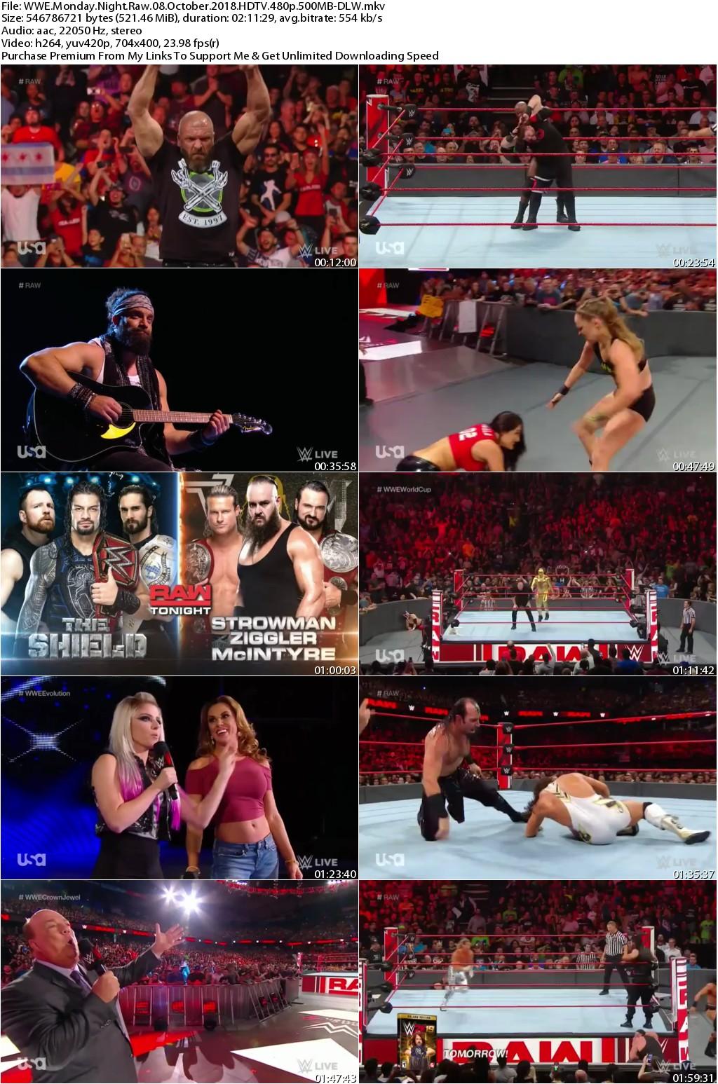 WWE Monday Night Raw 08 October 2018 HDTV 480p 500MB-DLW
