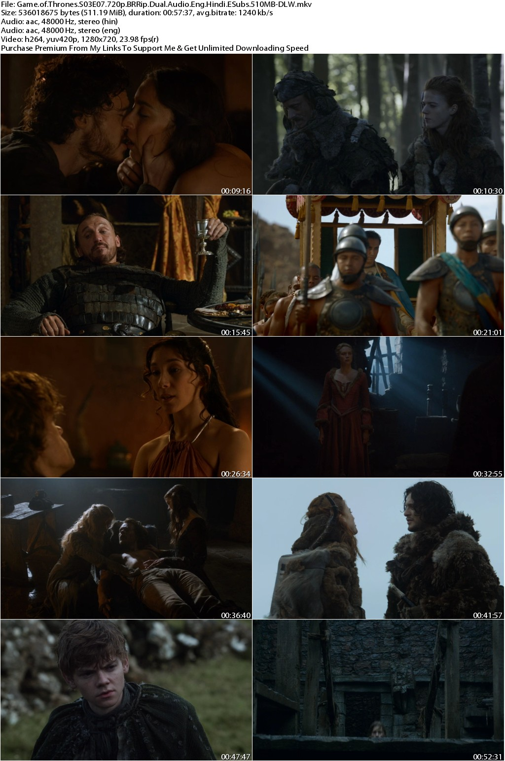 Game of Thrones S03E07 720p BRRip Dual Audio Eng Hindi ESubs 510MB-DLW