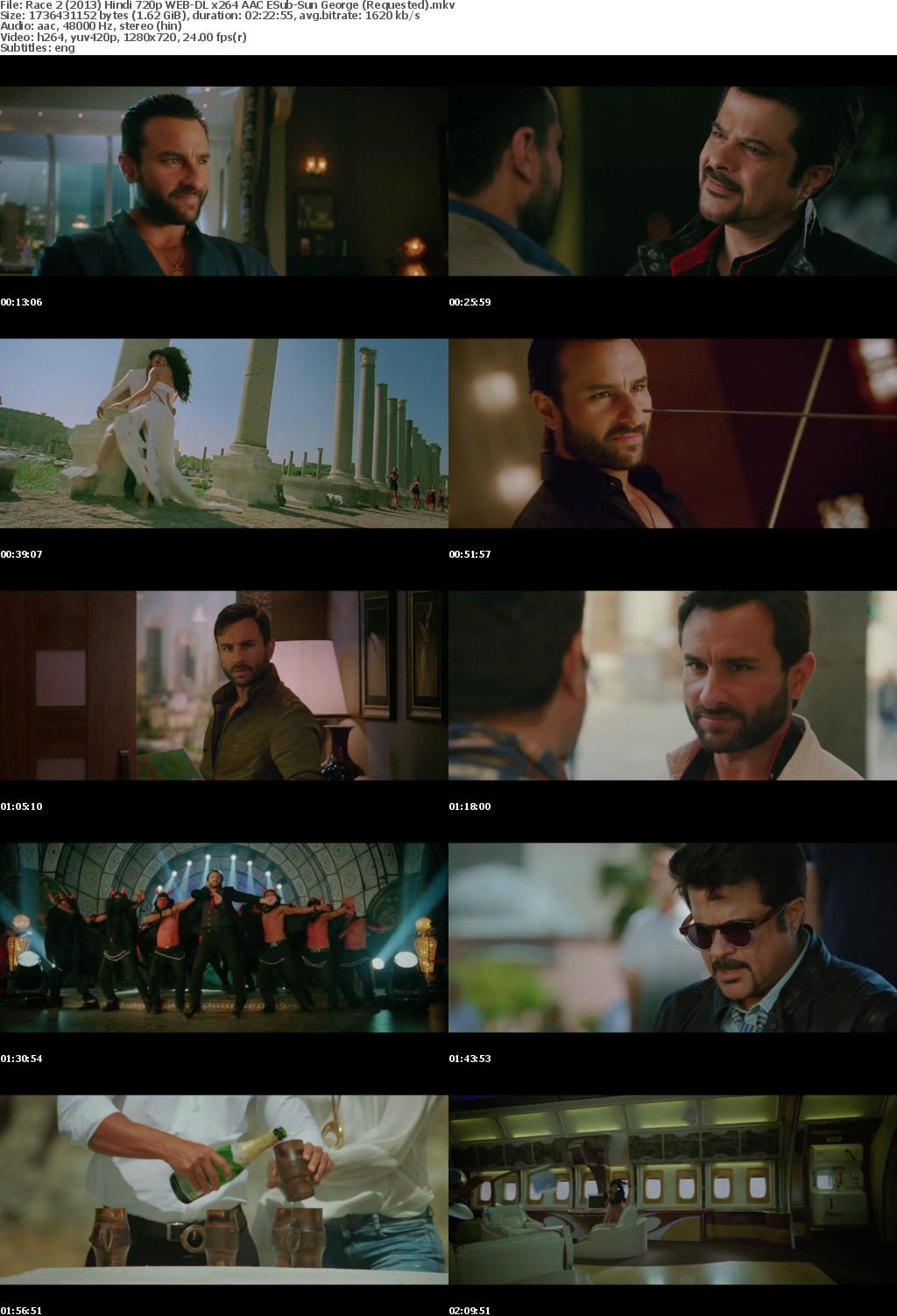 Race 2 (2013) Hindi 720p WEB-DL x264 AAC ESub-Sun George (Requested)