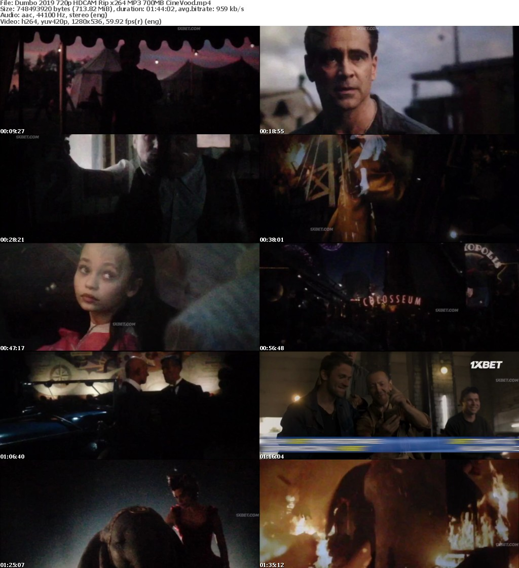 Dumbo (2019) 720p HDCAM Rip x264 MP3 700MB CineVood