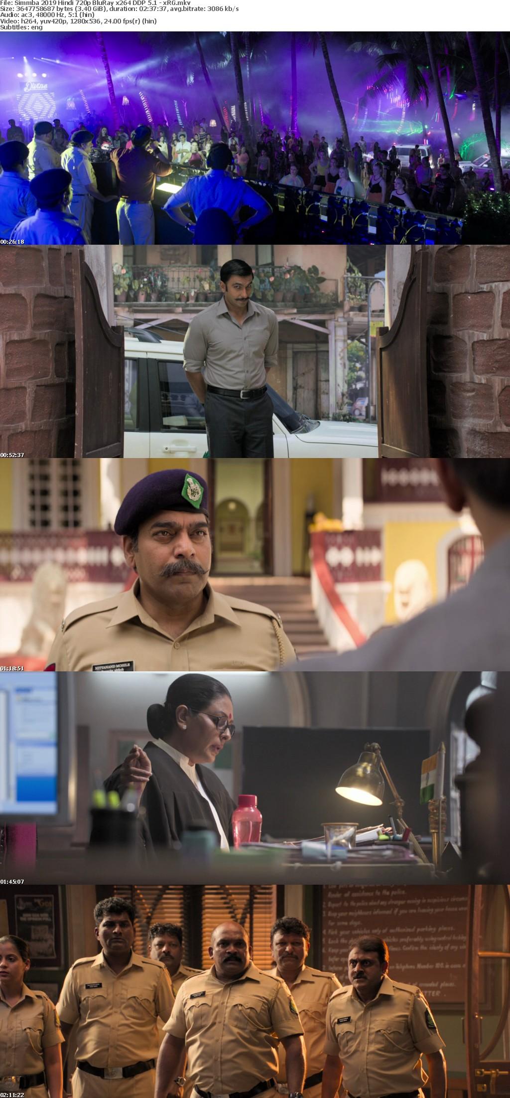 Simmba 2019 Hindi 720p BluRay x264 DDP 5 1 - xRG