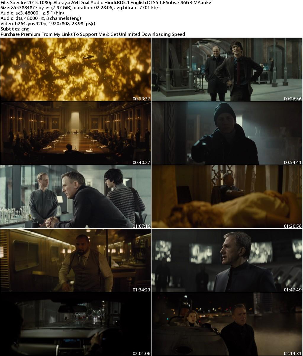 Spectre (2015) 1080p Bluray x264 Dual Audio Hindi BD5.1 English DTS5.1 ESubs 7.96GB-MA