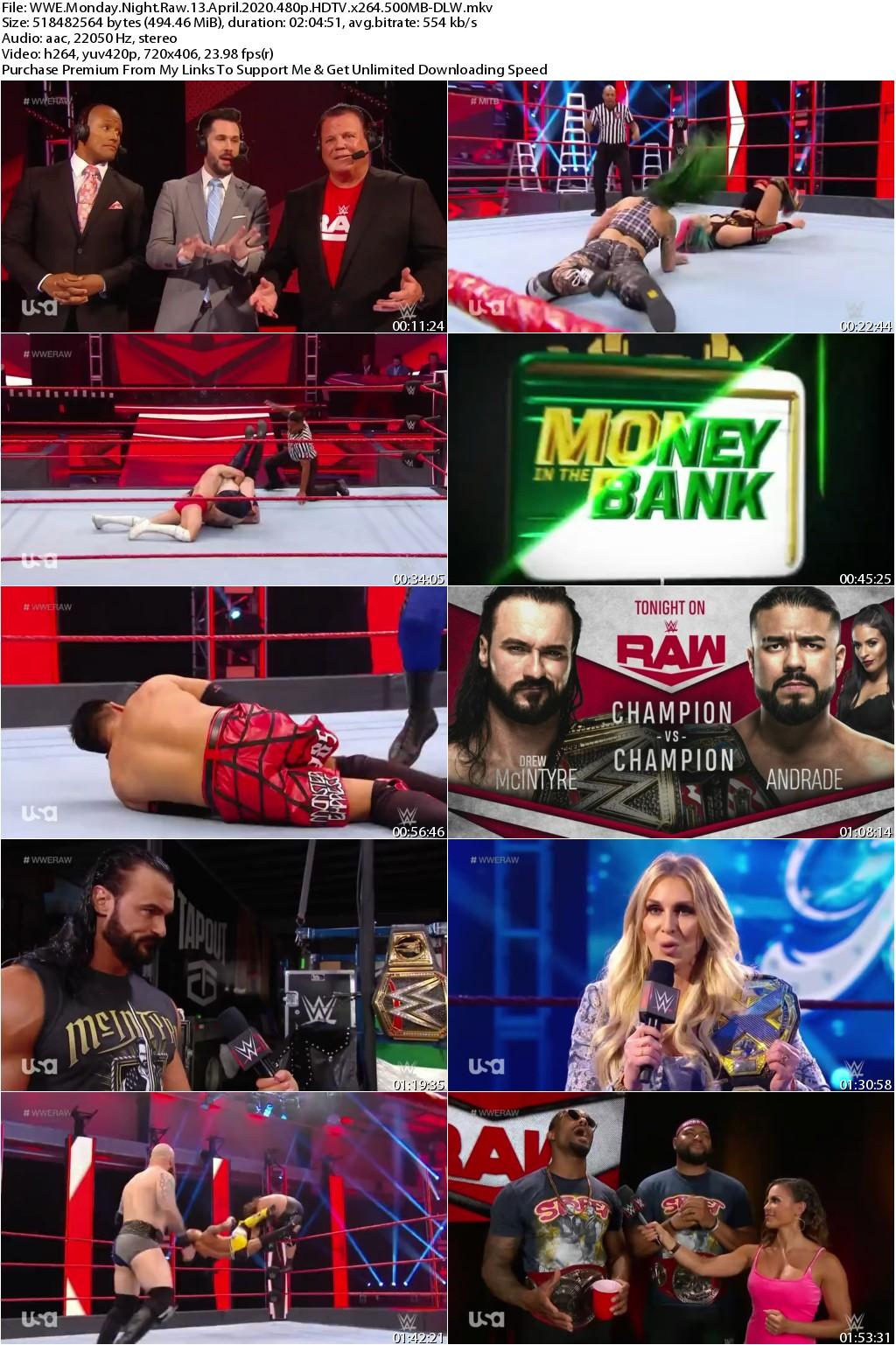 WWE Monday Night Raw 13 April 2020 480p HDTV x264 500MB-DLW