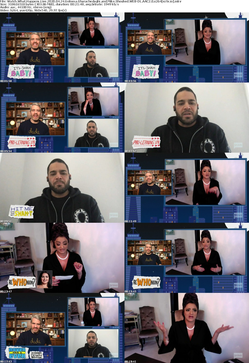 Watch What Happens Live 2020 04 24 Golnesa Gharachedaghi and Mike Shouhed WEB-DL AAC2 0 x264