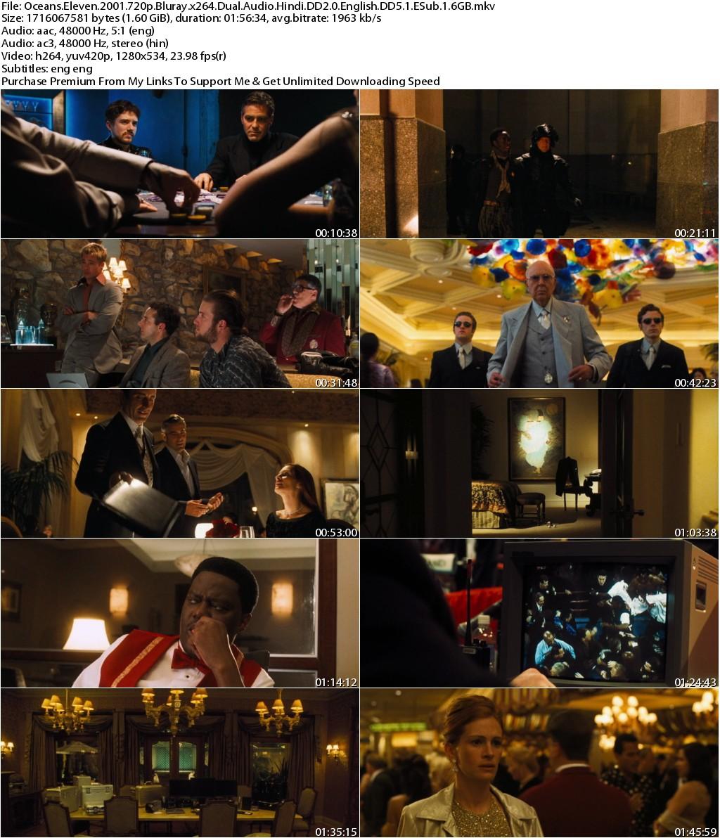 Oceans Eleven (2001) 720p Bluray x264 Dual Audio Hindi DD2.0 English DD5.1 ESub 1.6GB-MA