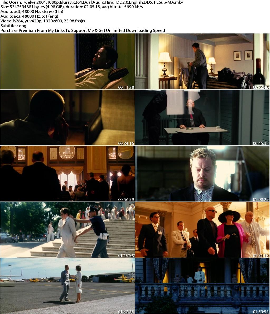 Oceans Twelve (2004) 1080p Bluray x264 Dual Audio Hindi DD2.0 English DD5.1 ESub-MA