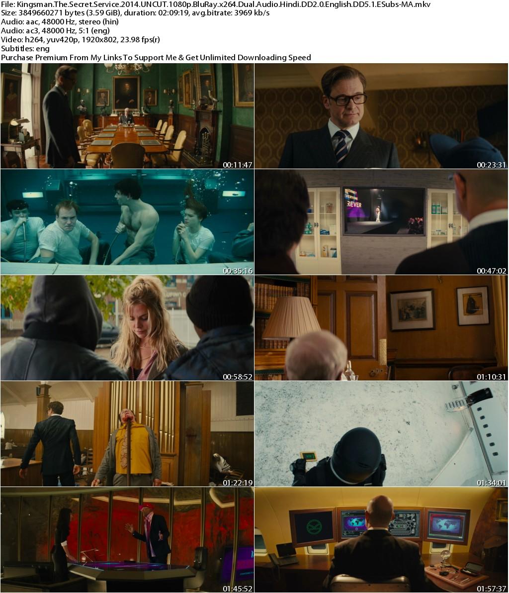 Kingsman The Secret Service (2014) UNCUT 1080p BluRay x264 Dual Audio Hindi DD2.0 English DD5.1 ESubs-MA