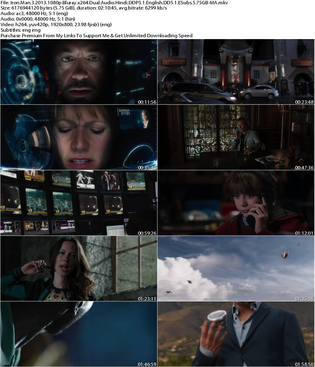 Iron Man 3 (2013) 1080p Bluray x264 Dual Audio Hindi DDP5.1 English DD5.1 ESubs 5.75GB-MA