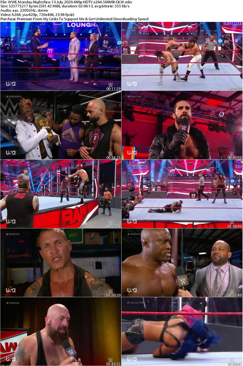 WWE Monday Night Raw 13 July 2020 480p HDTV x264 500MB-DLW